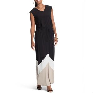 Chico's Colorblock Maxi Dress Side Slits Black Tan